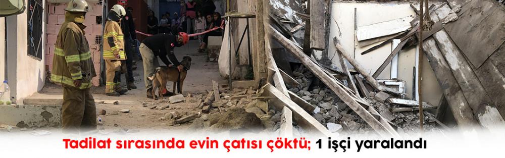 Tadilat sırasında evin çatısı çöktü